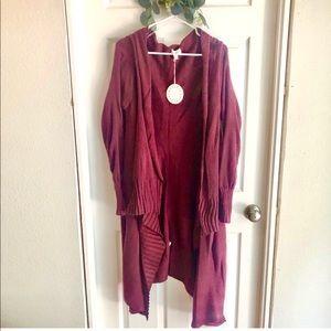 New long burgundy duster cardigan sweater